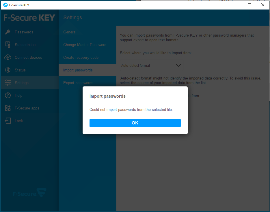 Fsecure key dashlane CSV failure.PNG