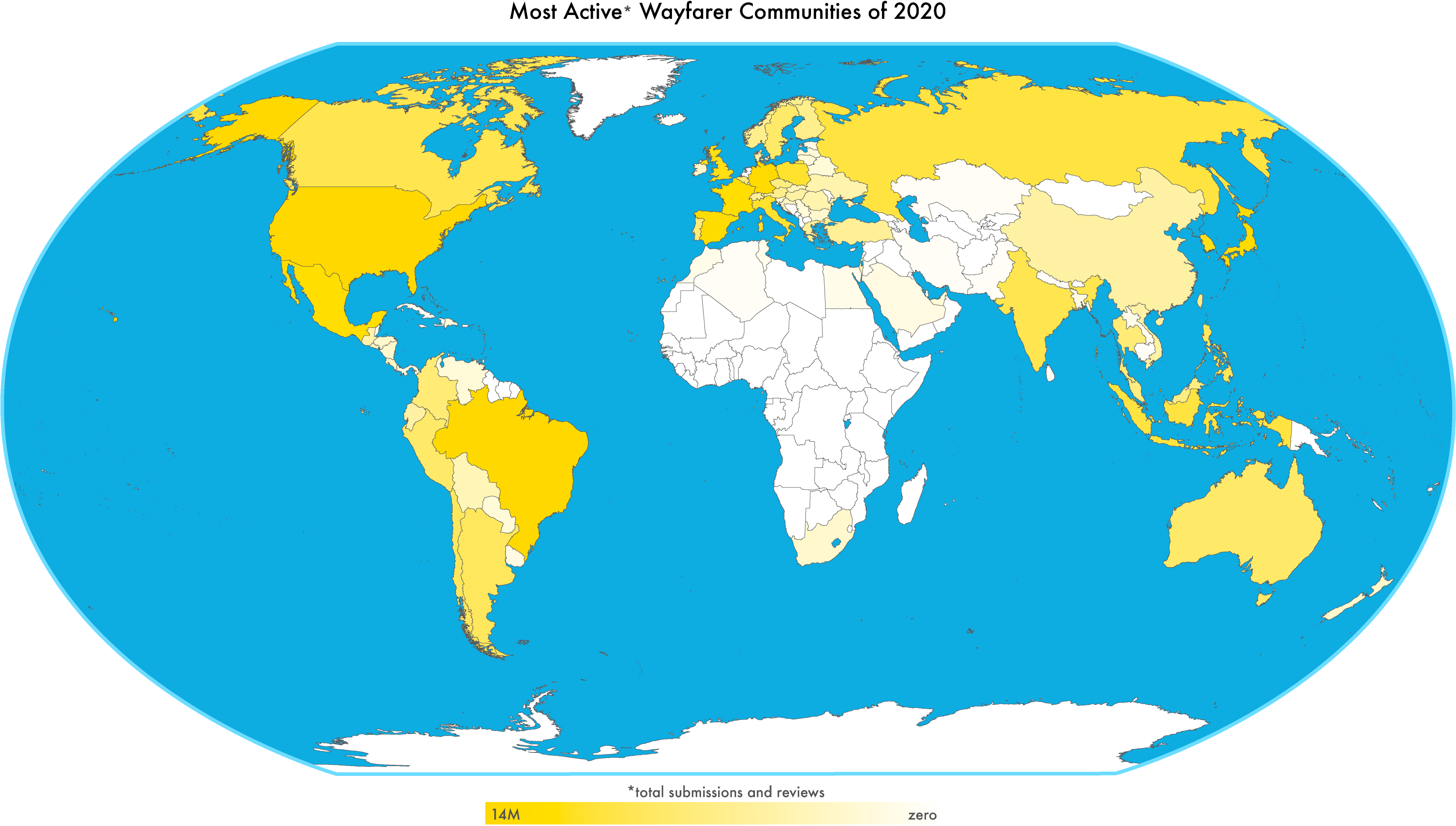 World map showing the most active Wayfarer communities in 2020