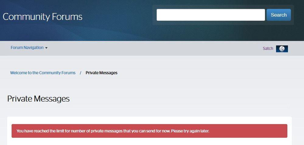 Spectrum Forums PM Sending Error