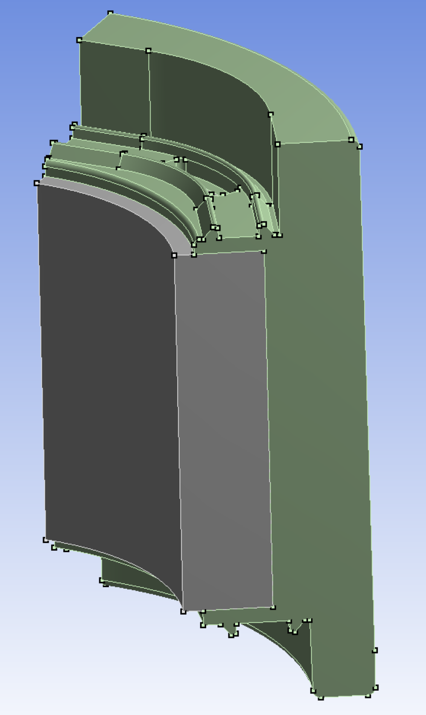 Full model, magnet is between electrometal plate (gray) and polymer part (green).