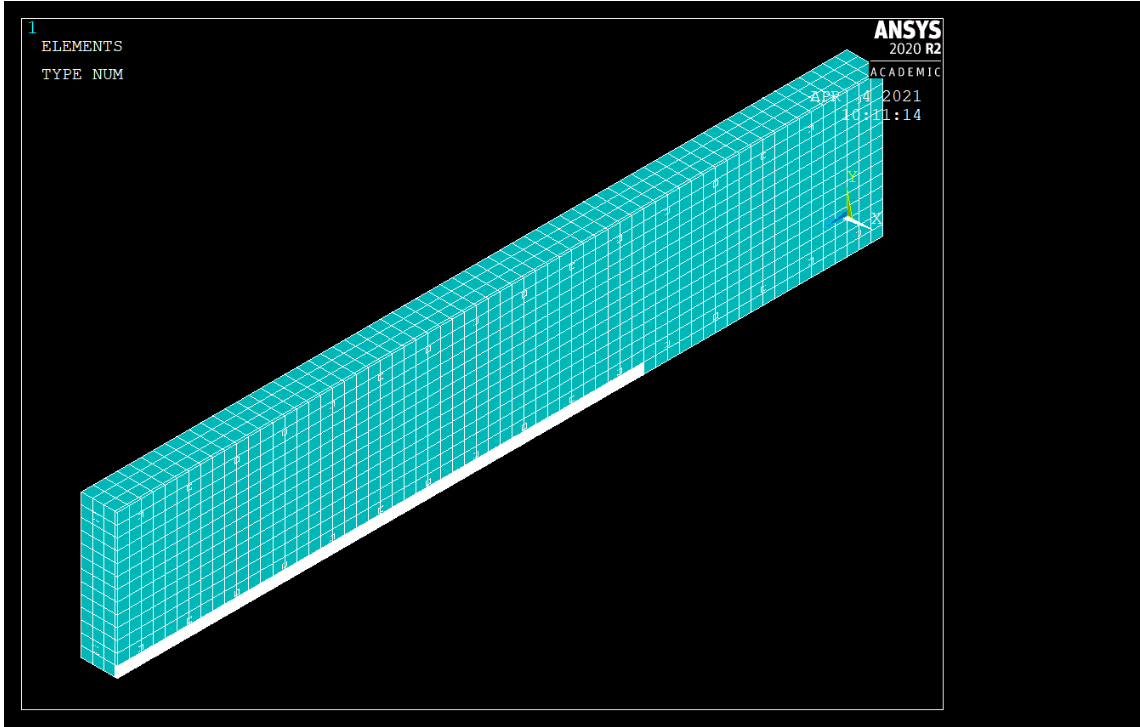 Isometric View of Quarter Beam Model.PNG