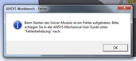 In english: An error occurred during the start of the solver module. Please refer to the