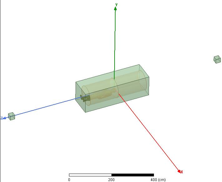 Full simulation set-up with one large FE-BI region surrounding a cylindrical sheet with impedance boundary, human phantom, and loop antenna), and two smaller FE-BI boundaries each surrounding a dipole antenna.