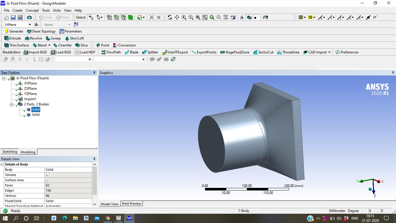 The design is open in design modeller. As you can see it has 2 bodies a diffuser and inside it there is a fan.