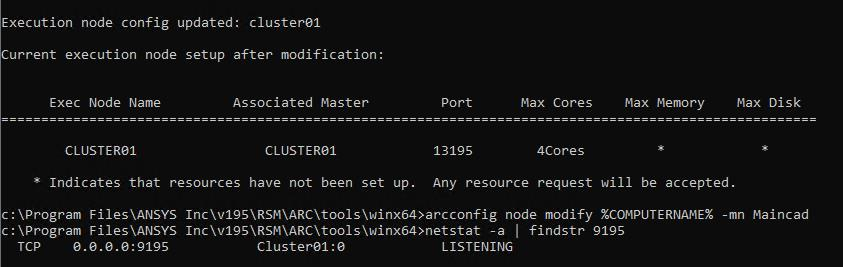 Cluster01 port 9195 listening