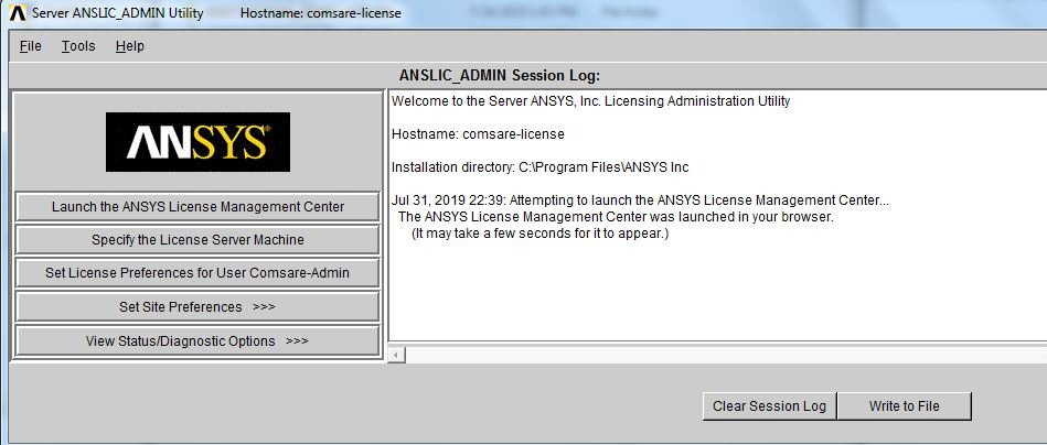 screenshot of ANSLIC_ADMIN