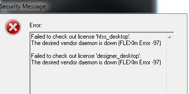 Error rcvd when trying to run HFSS