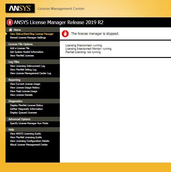 screenshot of ANSYS License Mgr