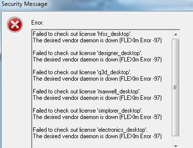 Error rcvd when trying to run ANSYS Electronics Desktop 18.2