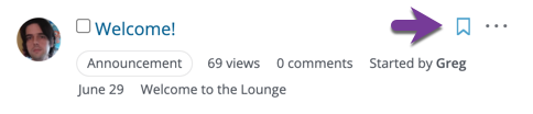 Direction to locate the Bookmark icon on a Question/Discussion Post to add it to your My Bookmarks list.