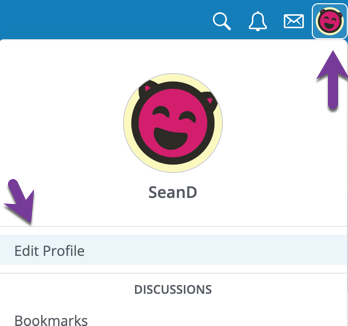 Directions to click on Profile icon in navigation bar, then the Edit Profile setting.