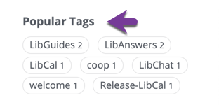 Direction to locate the Popular Tags list in the right side column.