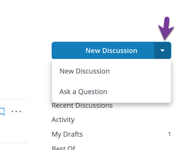 "Directions to click on the New Discussion Arrow Icon to view the ""New Discussion"" and ""Ask a Question"" dropdown options."