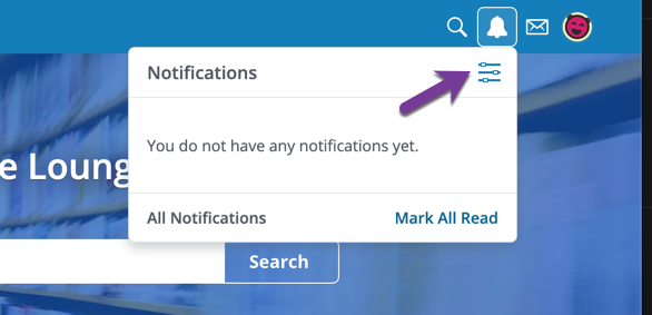 Image of Recent Notification bell icon in top navigation, and its expanded dropdown list of recent notifications and the notification preferences icon.