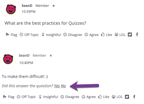Directions on selecting whether to accept a comment to a Question post as the Answer, by selecting yes or no.