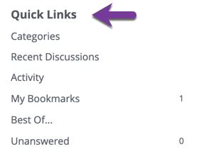 Direction to locate the Quick Links list in the right side column.