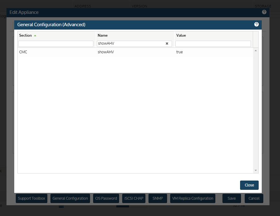 General Configuration (Advanced) - showAHV for Nutanix