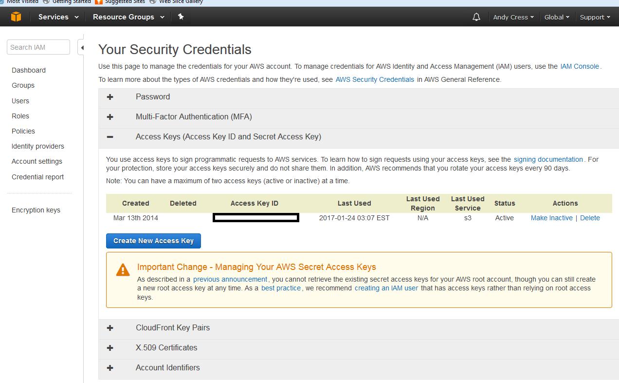 AWS Security Credentials screen