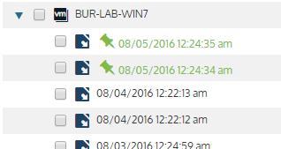 Unitrends Backup UI: Recover Tab Held Backups
