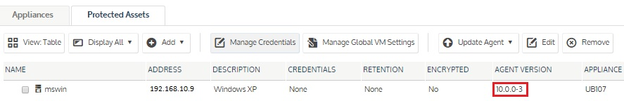 Agent Version column on the Protected Asset page.
