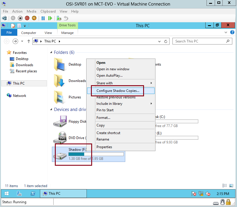 Image result for configure shadow copies storage