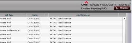 FATAL: Bad License error displayed in the UI