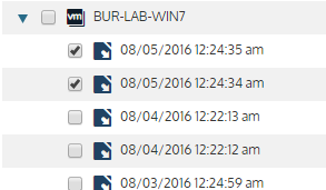 Unitrends Backup UI: Recover Tab with Backups Selected