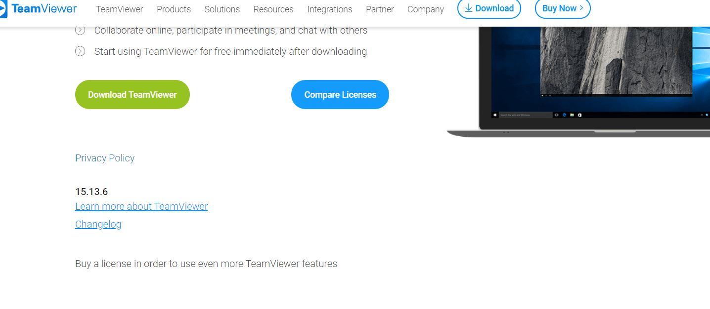 Team Viewer version displayed on Website page.JPG