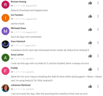 Add-On: Nokia does not install