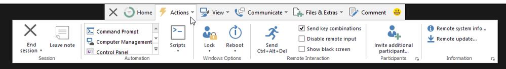"""Dropdown menu """"Actions"""""""