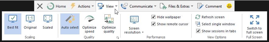 """Dropdown menu """"View"""""""