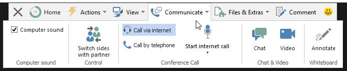 """Dropdown menu """"Communicate"""""""