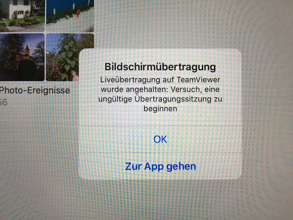 Fehlermeldung auf dem iPad mit TV QS