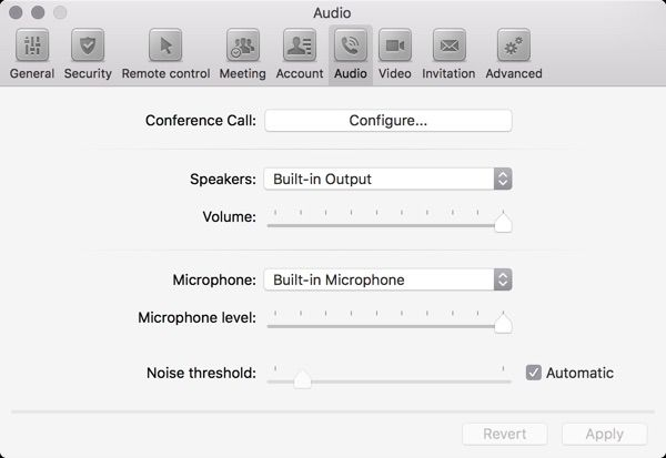 Devices are reset to original values next time the Audio preferences window is opened