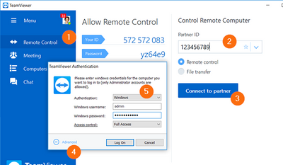 Connect to a Windows device with the Windows login credentials.