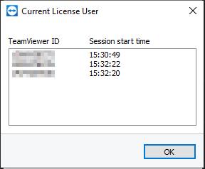 Una lista de las identificaciones de TeamViewer actualmente en sesiones