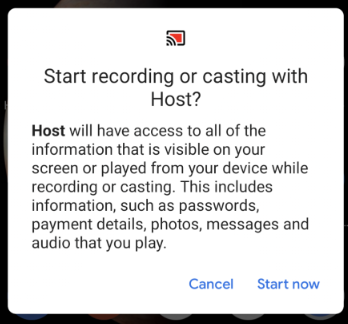 warning that appears on phone and must tap 'Start now' before I can remote control my device