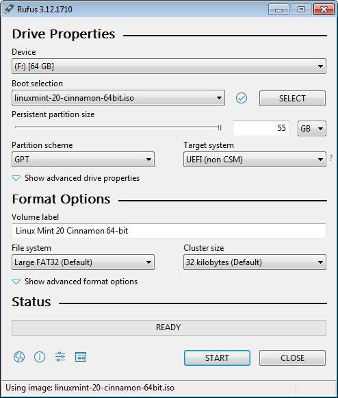 Rufus Settings for Linux Mint