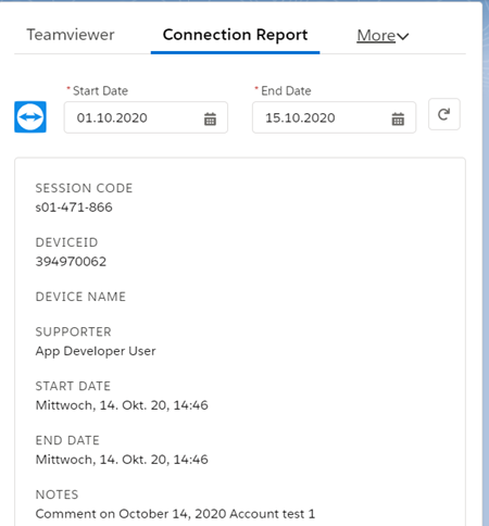 Figure 11: TeamViewer Connection report per case