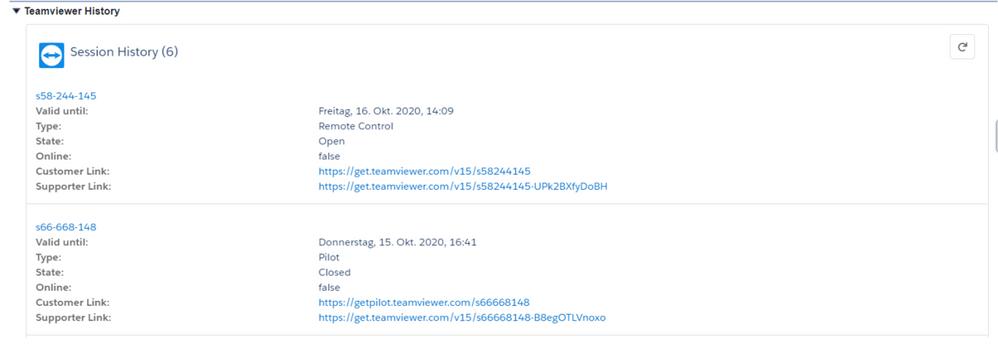Salesforce Classic中的TeamViewer会话历史