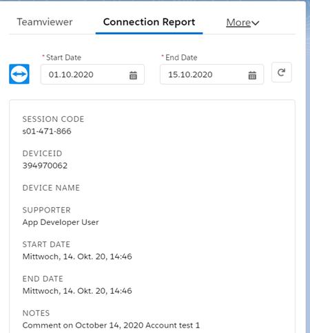 每个案例的TeamViewer连接报告
