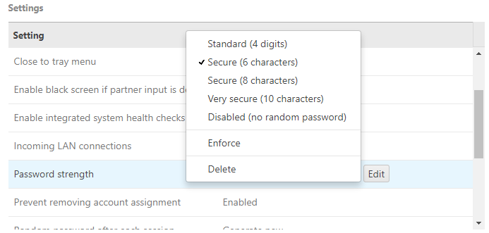 This setting is only for random passwords