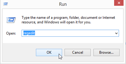 Right click Windows start menu --> select run -->type in: Regedit