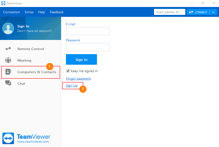 (1) Sign up for a TeamViewer account in the TeamViewer application