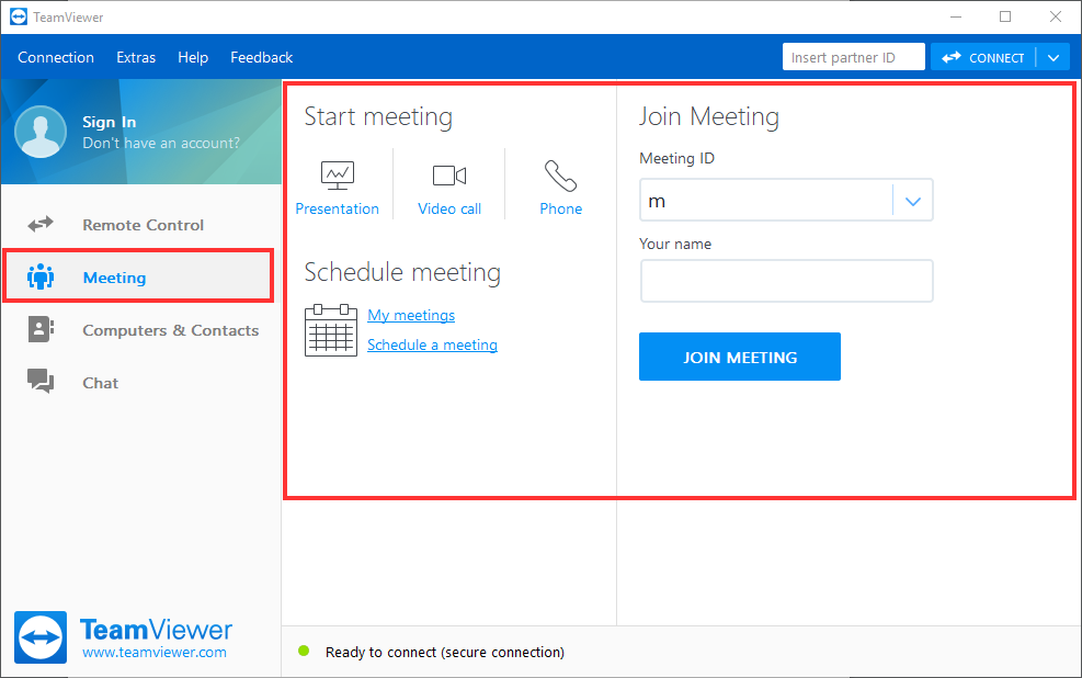 The Meeting tab