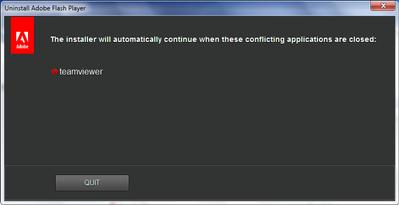 Flash Player Uninstall - TeamViewer Error Message.png