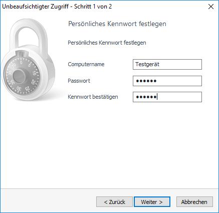 Legen Sie hier das Passwort für den unbeaufsichtigten Zugriff fest. Der Computername wird Ihnen später in der Computer & Kontakte Liste angezeigt.