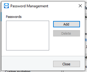Manage additional passwords using the Password Manager in the TeamViewer Security settings