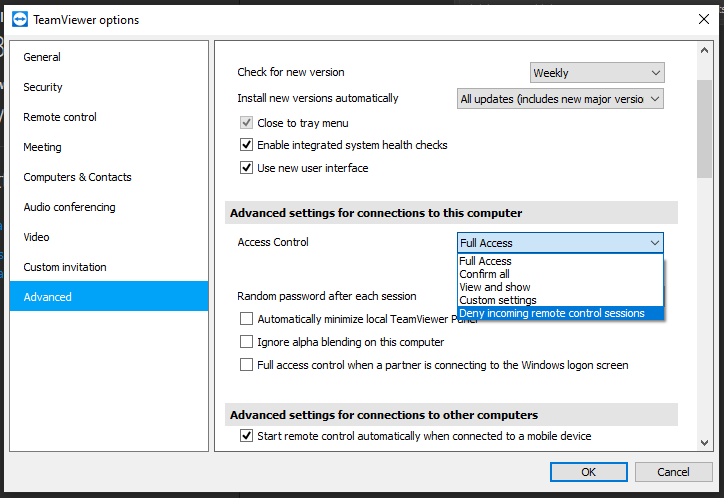 Set to 'Deny incoming remote control sessions' on Windows