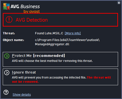 AVG detection warning
